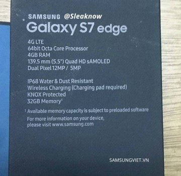 Samsung Galaxy S7 edge retail box (allegedly)