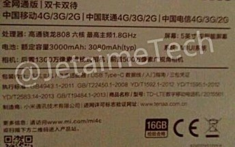 Leak reveals Xiaomi Mi 4c to come with SD808, USB Type-C connector