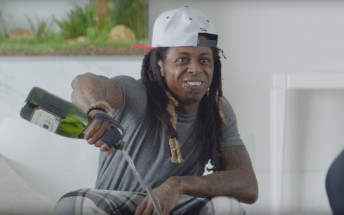 New Galaxy S7 edge ad featuring Lil' Wayne pouring a bottle of champagne on his phone