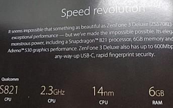 After SD823-powered ZenFone 3 Deluxe rumors, new leak reveals SD821 variant