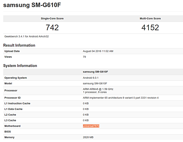 Samsung Galaxy On7 (2016) tipped in GeekBench listings