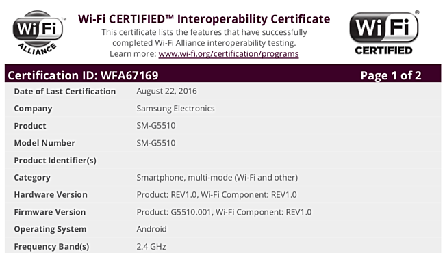 Android Apps: Samsung SM-G5510 and SM-G5520 receive WiFi certification