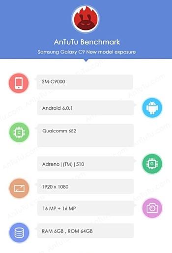 Samsung Galaxy C9 xuất hiện trên Geekbench với Snapdragon 652 SoC, 6GB RAM