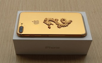Here's a 24K gold-plated iPhone 7 with a dragon and diamonds on the back