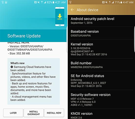Tháng Chín cập nhật bảo mật bắt đầu đánh T-Mobile Galaxy S7 và S7 cạnh