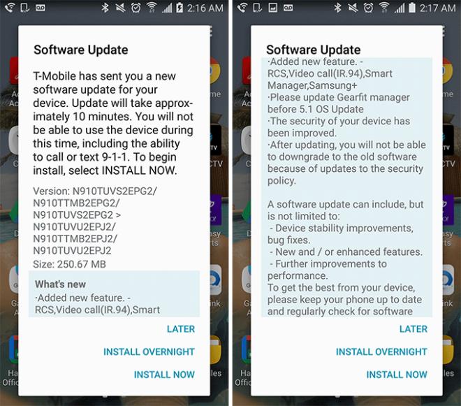 Tháng Mười cập nhật bảo mật bắt đầu đánh T-Mobile Galaxy Note 4 và Lưu ý Cạnh