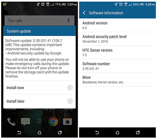November security update starts hitting T-Mobile HTC One M9