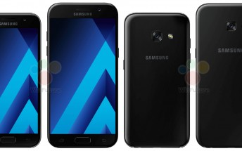 More press renders leak showing the Galaxy A5 (2017) alongside the A3 (2017)