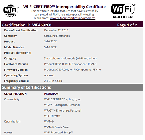 Samsung Galaxy A7 2017 Gets WiFi Certified As Well