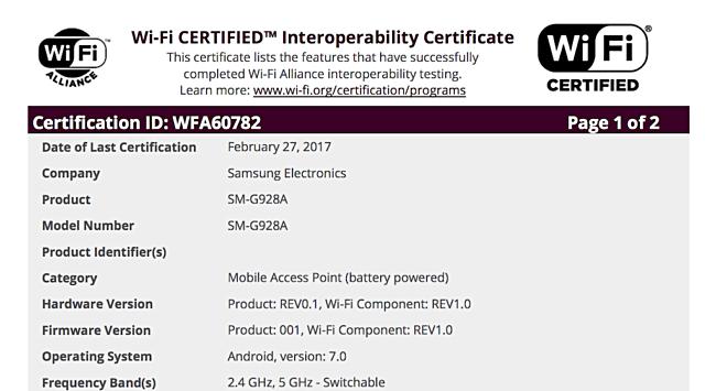 Samsung Galaxy S6 có chứng nhận mới