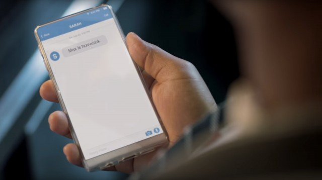 The mystery phone in the Michelin ad - possibly Andy Rubin's Essential phone