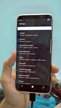 Presunta Galaxy S8 con sistema operativo Windows 10 Mobile