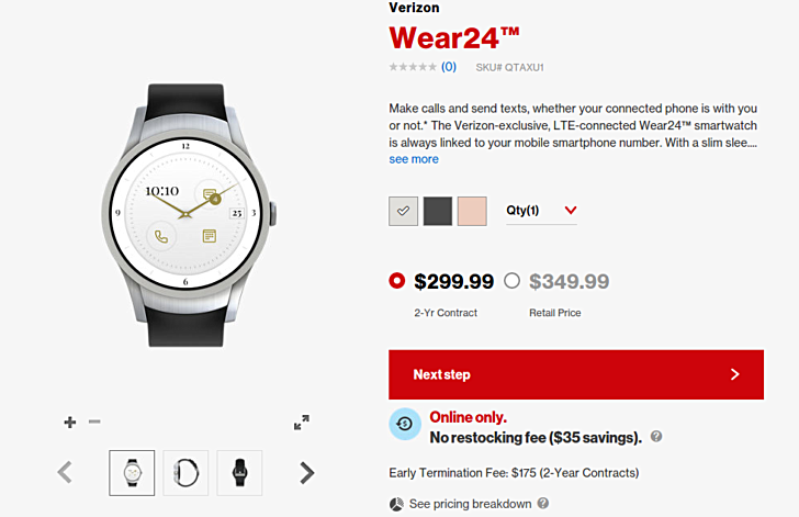 Verizon's Wear24 Android Wear 2.0 Smartwatch is Now on Sale for $349.99