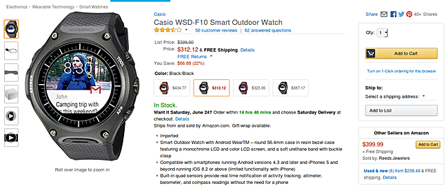 Casio's WSD-F10 rugged smartwatch going for as low as $312