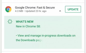 Play Store update shows changelog in the update screen