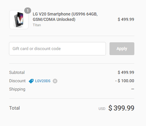 LG V20 again going for $399.99 in US