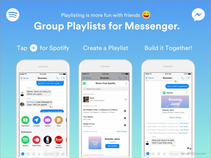 Spotify now lets you create group playlists in Facebook Messenger