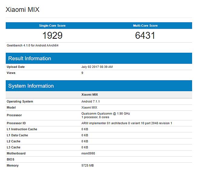 Xiaomi Mi Mix 2 rumors: GFXBench listing reveals Snapdragon 835, 6GB RAM