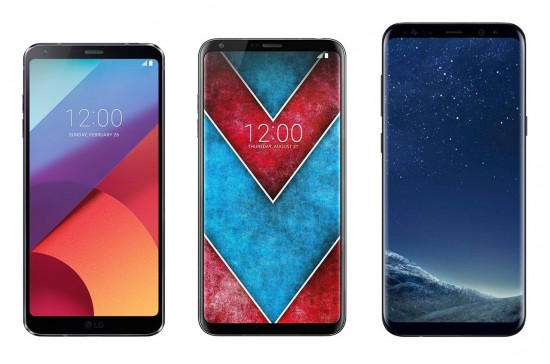 LG V30 next to Galaxy S8+ and G6