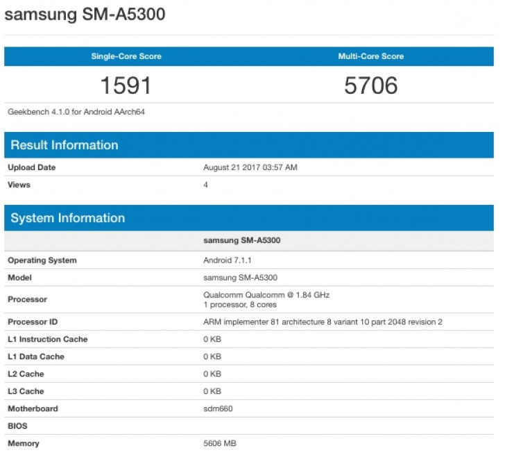 Image result for Samsung Galaxy A5 (2018) smartphone leaked on Geekbench