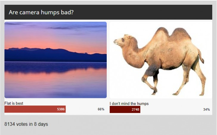 Weekly poll results: camera phones get a pass on humps, everything else better be flat