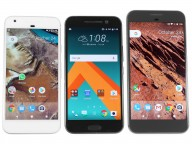 From left to right: Google Pixel, HTC 10, and Pixel XL - Google Pixel review
