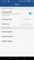 Configuring the harassment filter - Honor 7 Lite (5c) review