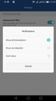 Configuring the harassment filter - Huawei P9 lite review