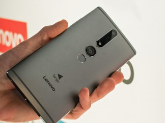 The back of the Lenovo Phab2 Pro holds three cameras