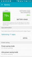 The battery info screen in the Smart Manager - Samsung Galaxy A5 (2016) review