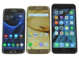 The S7 edge next to S6 edge and iPhone 6s Plus - Samsung Galaxy S7 Edge review