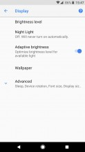 Reorganized Settings, with 'Advanced' drop down in some places - Android 8.0 Oreo review