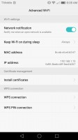 Advanced Wi-Fi settings - Huawei Honor 6x review