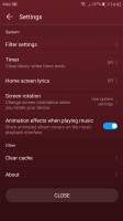 Audio player settings - Huawei P10 Plus review