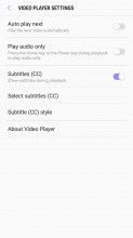 Video player: Settings - Samsung Galaxy J7 (2017) review