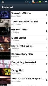 screens of Vimeo\'s official Android app