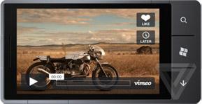 screens of Vimeo\'s official Windows Phone app
