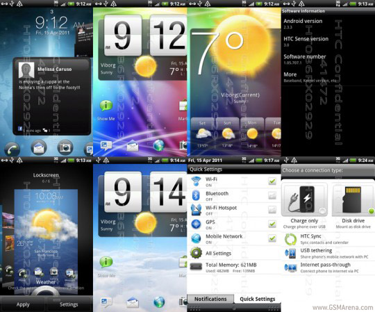HTC Pyramid custom ROM screens on Desire HD