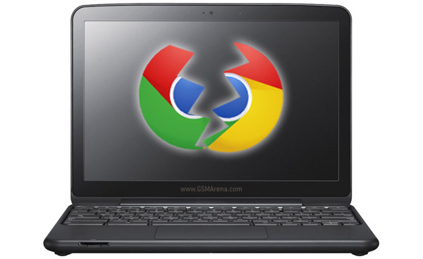 broken google chrome logo on samsung chromebook
