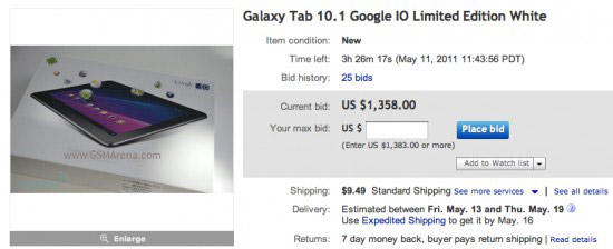 A screen of an exclusive white Galaxy Tab 10.1 on Ebay