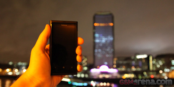 The Lumia 800 in the fore and Millbank Tower behind