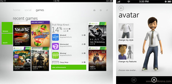 Screens of the iPhone and iPad iterations of My Xbox LIVE