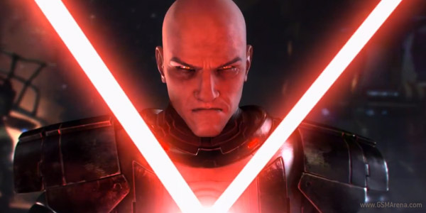A Sith looking moody with twin red light sabres