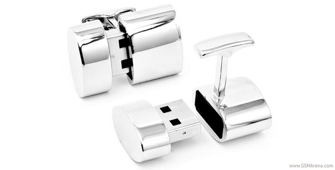 A set of Brookstone's WiFi cufflinks