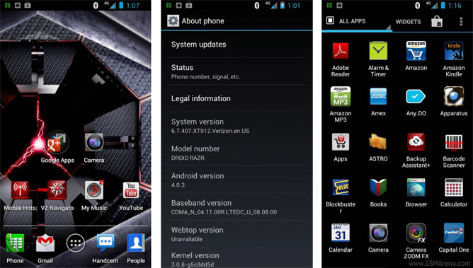 Leaked screens of Android ICS 4.0.3 running on the Verizon's Droid RAZR