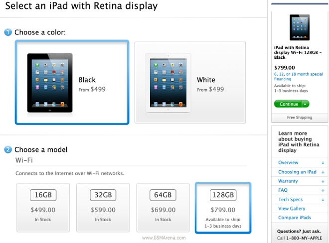 128GB Apple iPad with Retina Display now available for ...