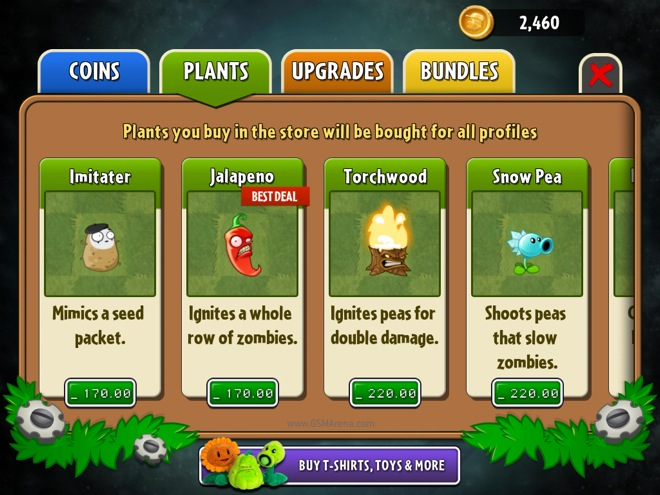 How do you buy more slots in plants vs zombies