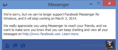 Facebook Messenger for Windows to shut down on March 3