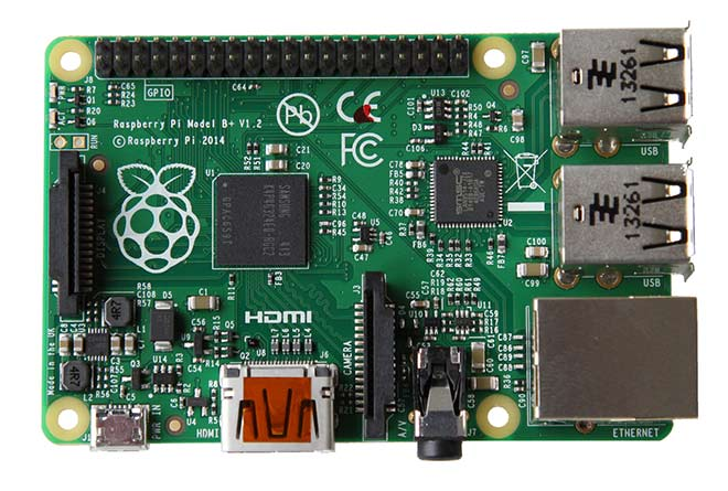 Raspberry Pi Model B+ photo from top