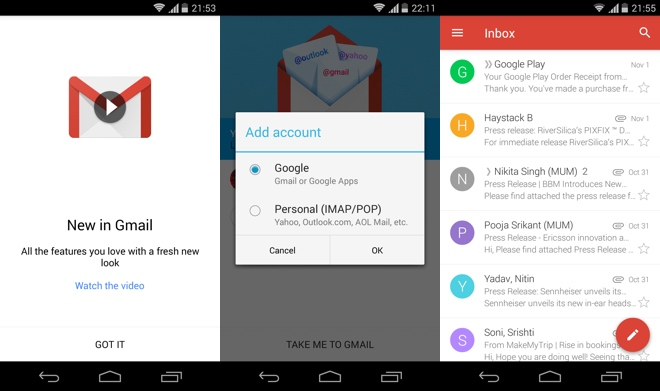 New Design Gmail 5.0 for Android leaks for Android 4, Download Now